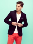 Red Chinos And White v Neck T Shirt and Navy blazer and white and navy-pocket